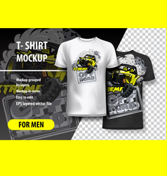 T-shirt template fully editable with yellow vector