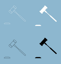 The judicial hammer the black and white color vector