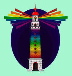The lighthouse is rainbow colored lgbt concept vector