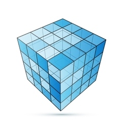 Three D cube blue vector image