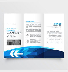 tr-fold brochure flyer design template in blue vector image