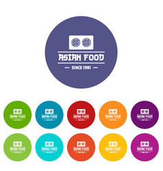 Traditional asian food icons set color vector