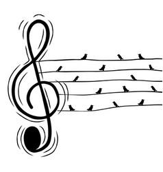 treble music note birds sound nature concept vector image