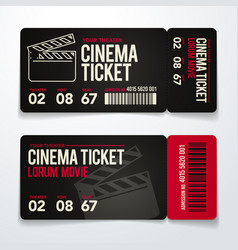 two cinema tickets design template set vector image