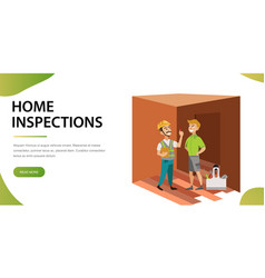 two men examining room in house poster vector image
