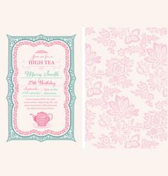 Vintage tea invitation layout vector