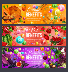 Vitamin food of color diet with nutrition benefits vector