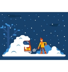 winter man digs car out snow background flat vector image