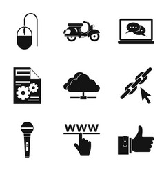 Wirelessly icons set simple style vector