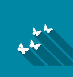 butterfly icon with long shadow vector image