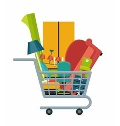 Furniture in a shopping cart vector image vector image