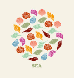 sea shell of color silhouettes vector image vector image