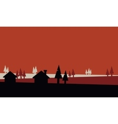 Silhouette of small house and spruce vector image vector image