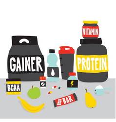 sport foods nutrition and fruits cartoon vector image