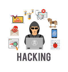 Cyber crime and hacking concept vector