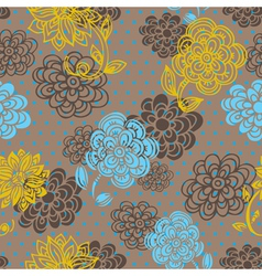 Floral seamless pattern in retro style vector image