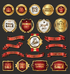 golden retro sale badges and labels collection vector image