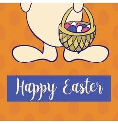 Happy easter poster rabbit boy keeps egg bascet vector image vector image