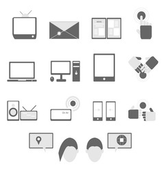 Media and communication icons on white background vector image vector image