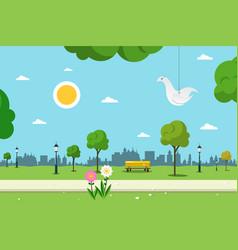 park nature landscape empty urban garden vector image vector image