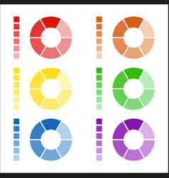 set of circular spectrum wheels rounded diagrams vector image vector image
