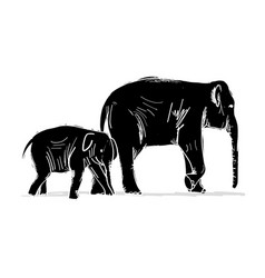 elephant mother with child sketch for your design vector image