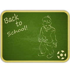 Little Boy with Ball on Retro School Board vector image