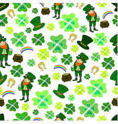seamless st patrick s day green leprechaun vector image