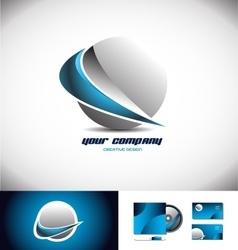Sphere 3d logo icon design swoosh blue vector image