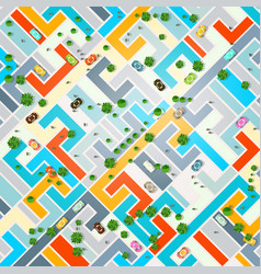 Abstract city top view town with cars trees and vector