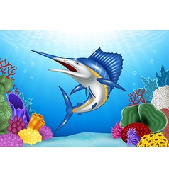 Cartoon Blue Marlin with Coral Reef Underwater vector image vector image