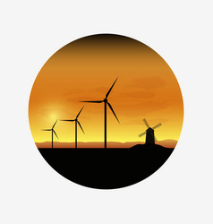 Electric wind turbines farm silhouettes on sun vector