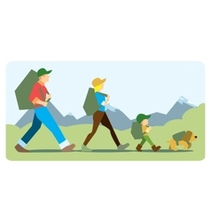 Family going to the mountain with backpacks vector image vector image