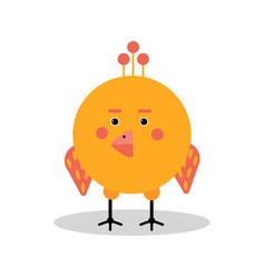 funny cartoon chicken character in geometric shape vector image