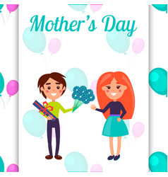 mothers day postcard with little kids vector image vector image