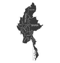 myanmar map labelled black vector image
