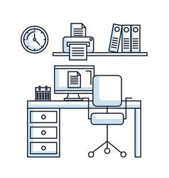 office workspace desk chair pc printer clock vector image