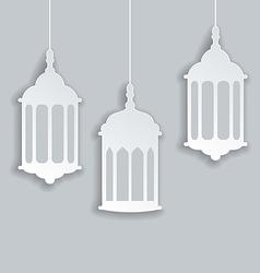 Paper Arabic lamp with shadow for Ramadan Kareem vector image vector image
