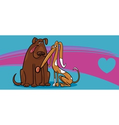 valentine card with dogs vector image vector image