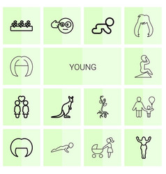 14 young icons vector image