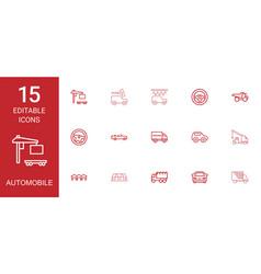 15 automobile icons vector