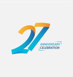 27 year anniversary celebration template design vector