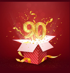 90 th years number anniversary and open gift box vector