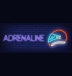 Adrenaline neon text with helmet vector