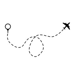 Air path dashing line trace with dots design fly vector