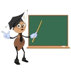 Ant teacher stands at blackboard vector image