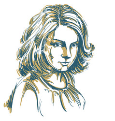 Art drawing portrait gorgeous romantic girl vector