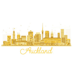 Auckland new zealand city skyline golden vector