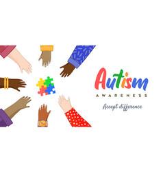 Autism awareness day diverse children friend hands vector