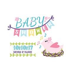 baby shower badge happy mothers day logotype pink vector image